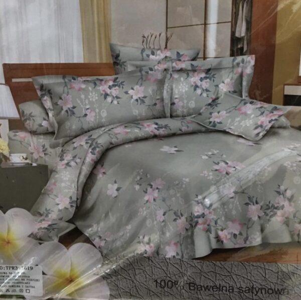 voodipesukomplekt hallikat tooni, heledate roosakate lilledega